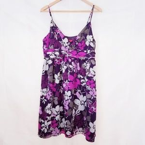 Elle Floral Mini Dress Purple Gray 14